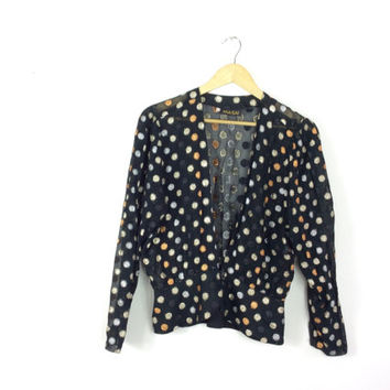 Gold polka dot top // 70s disco // black shimmer evening jacket // gold and silver spotty top // vintage party top // sparkly blouse
