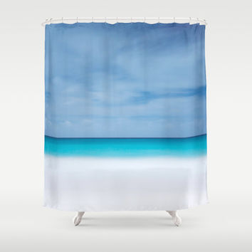 Tropical paradise beach turquoise sea ocean nature travel hipster Caribbean Fiji horizon photograph Shower Curtain by iGallery