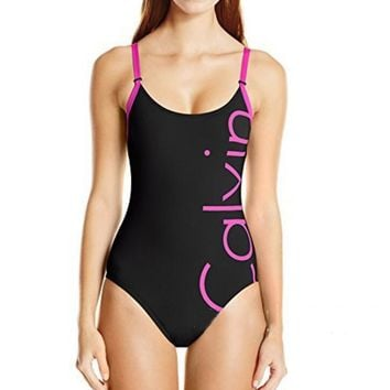 Calvin Klein Stylish Ladies Big Letter Logo Print Vest Style One Piece Bikini Swimsuit Bathing Black