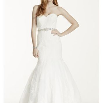 Petite Strapless Wedding Dress with Beaded Sash - Davids Bridal