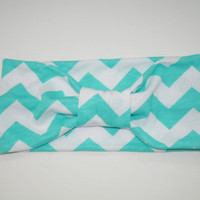 Tiffany Blue Chevron Turban Headband - Head-wrap, Aqua, Hair Accessories