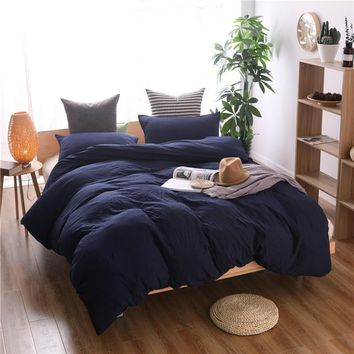 TUEDIO Textile Modern Solid Color 2/3 Pcs Bedding Set Microfiber Washed Cotton Bedclothes Navy Blue Pillowcase Duvet Cover Sets