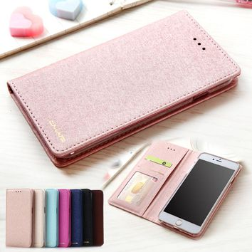 For Apple iPhone 6 Case Silk Leather & Silicone Flip Cover iPhone 6 6s Plus Case With Stand Wallet Coque For iPhone6 Plus