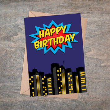 Superhero Birthday Card, Printable Greeting Card, Happy Birthday, Superheroes Party, City Background, Kids, Baby Boys, Dark Blue