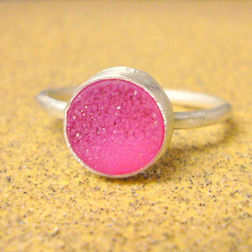 Pink druzy ring sterling silver stacking gemstone by WatchMeWorld