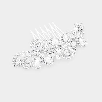Fancy Teardrop Pearl & Crystal Pave Accent Hair Comb