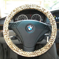 Tan and Brown Leopard Steering Wheel Cover