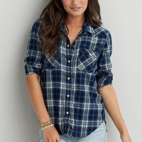 AEO Flannel Shirt Jacket, Grey | American Eagle Outfitters