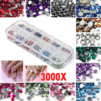 3000pcs Nail Art Rhinestones Decoration DIY for UV GEL Acrylic Systems 2mm USA | eBay