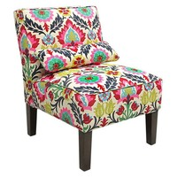 Bergman Armless Chair, Fuchsia/Multi