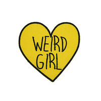 WEIRD GIRL Candy Heart Patch Iron On Patch Embroidery Sewing DIY Customise Denim Cotton Feminist Sassy Yellow Tumblr Love Hearts