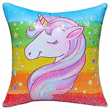 "ICOSY Sequin Unicorn Pillow Cover, Mermaid Pillow Case Unicorn Throw Pillow Cover Decorative Cushion Cover Reversible Sequin Pillowcases 16""x 16"" (Rainbow Unicorn/Silver)"