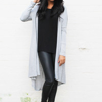 Longline Duster Fine Knit Cardigan in Grey
