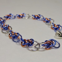 Violet, lilac and copper chain maille bracelet. Budding. Sunny.