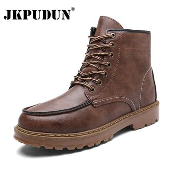 JKPUDUN Fashion Men Boots Lace-Up Autumn Leather Martin Boots Men Waterproof Work Tooling Winter Ankle Boots Casual Shoes Botas