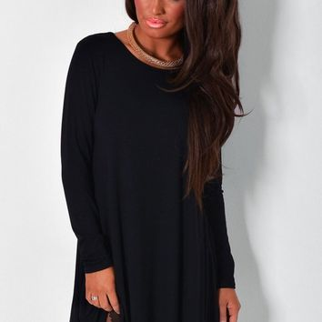 Autunno Black Long Sleeved Swing Dress | Pink Boutique