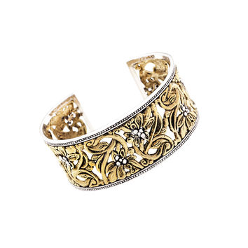 Secret Garden Sterling Silver Bronze Cuff