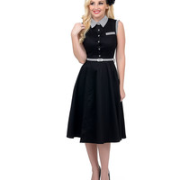 1950s Style Black Belted Polly Shirt Dress