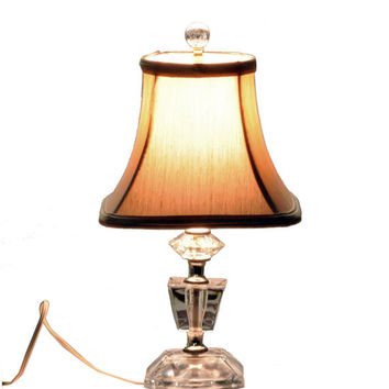 Vintage Art Deco Style Glass Lamp - Vanity/Dresser/Table Lamp with Shade - C 1940's Boho Chic /Hollywood Regency Decor