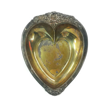 Vintage Tarnished Silver Plate Heart Shaped Dish, Jewelry Holder, Trinket Tray, Gothic Home Decor, Romantic Victorian Style, Ornate Metal