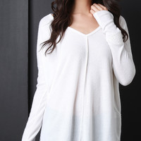 Serged Seam Knit Long Sleeve Top