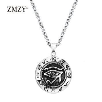 ZMZY Big Long Vintage Horus Egyptian Sun Eye God Symbol Pendants Necklaces 316L Stainless Steel Mens Biker Jewelry Chain
