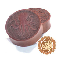 Octopus Engraved Wood Plugs