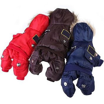 Puppy Dog Cat Winter Warm Patches Hooded Button Down Jacket Coat Pet Clothes