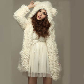Winter Faux Fur Bear Ear Hooded Jacket