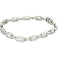 Mixed Cut 3.64ct Vintage Diamond Line Bracelet 18 Karat White Gold Estate Jewel