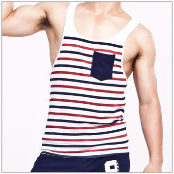 Running Vests Jogging Men's Cotton Tank Tops Male Tees Undershirts Fabric striped Sleeveless shirts Loose Vest for Man s KO_11_1