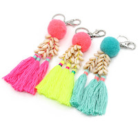 Fashion Handmade Keychain Shells Beads Tassel Pendant Key Chains Bohemian Accessories