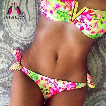 TOPMELON Bikini 2017 Swimwear Female Micro Bikini Floral Push Up Beachwear Bathing Suit Triangle Bikini Biquini Swimsuit Women