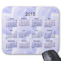 Blue Patchwork 2015 Calendar Mouse Pad from Zazzle.com