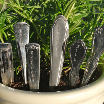 6 Hand Stamped Upcycled Silverware Handle Herb Markers