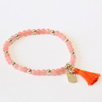 Bead And Tassel Bracelet - Orange