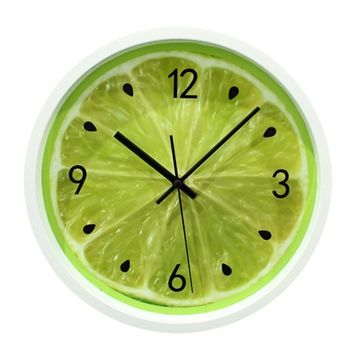 Zlyc Modern Ultra Silent 12-inch Fruit Lemon Round Wall Clock (full green)