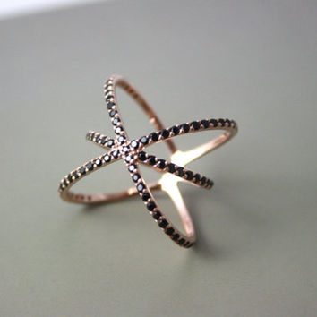 Saturn Ring with CZ Stone ~ Silver Thin Cross Cross Ring ~ Thin Saturn Ring ~ Silver Ring ~ Rose Gold ~ Micro Pave~ Midi Ring ~ Knuckle Ring