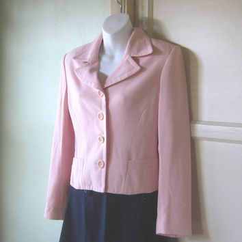 1940s Influenced Pretty in Pink Vintage Jacket - Retro Pink Jacket; 1940s Shoulder Pads; Pink Buttons - Pink Wear To Work/Career Jacket