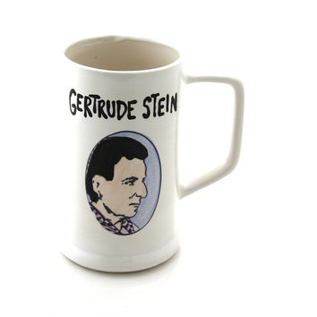 Gertrude Stein beerstein, feminist, parks and recreation fan art, gift for writer