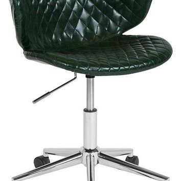 Cambridge Home and Office Upholstered Low Back Chair in Green Vinyl [LF-9-17-GRN-GG]