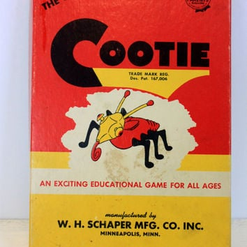 "vintage "" cootie "" game // copyrighted 1949 // w. h. shaper mfg co // retro toy"