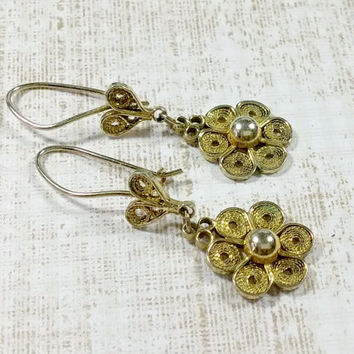 Antique Sterling Gold Wash Italian Silver Pierced Earrings Flowers Hearts Fine Filigree Hand Crafted Handmade Delicate yet Durable