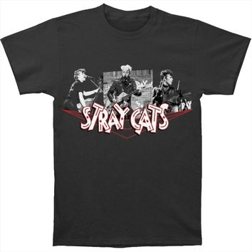 Stray Cats Men's  Photo Collage Tee Slim Fit T-shirt Charcoal