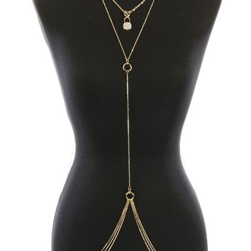 Body Chain Metal Lock Charm Necklace And Pave Crystal Stone Multi Chain Drape 22 Inch Long