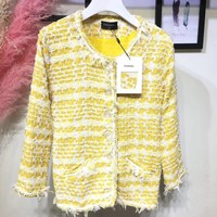 Chanel Fashion Yellow Weaving Tweed Jacket