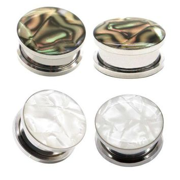 ac ICIKO2Q Pair Of Stainless steel Shell and Opal print plugs screw fit ear plug gauges flesh tunnel ear plug SPP048