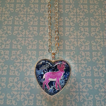 Pink deer with flowers glass dome heart necklace for tween or teen girl