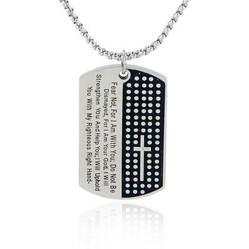 'Fear Not' Isaiah 41:10 Stainless Steel Dog Tag Pendant Necklace