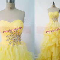 Long yellow tulle prom dresses with crystals,2014 cute sweetheart bridesmaid gowns hot,chic floor length dress for holiday party.